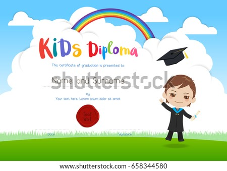 Colorful kids diploma certificate template cartoon stock vector colorful kids diploma certificate template in cartoon style with smiling boy in graduation gown suit and yelopaper Choice Image