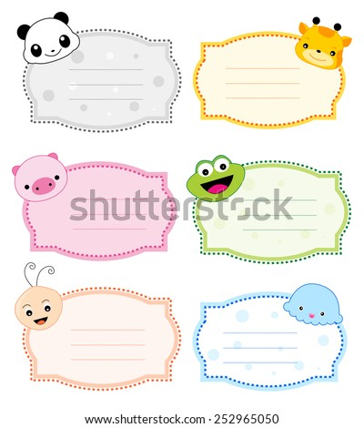 Colorful kids name tags with cute animal faces on corners