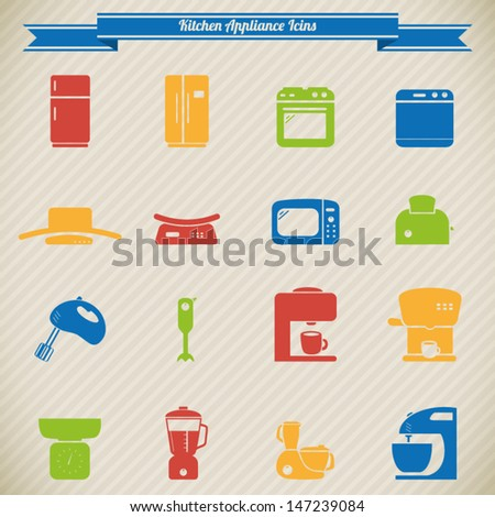 Colorful kitchen appliances icons - stock vector