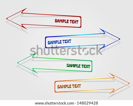 Colorful label arrows - stock vector