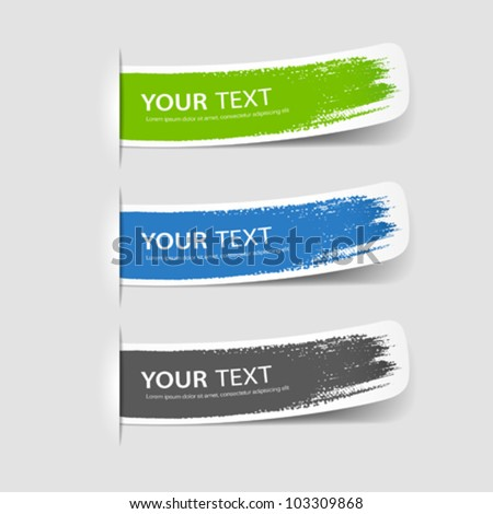 Colorful label brush stroke, vector illustration - stock vector