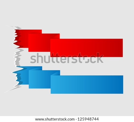 Colorful label paper brush stroke, vector illustration - stock vector