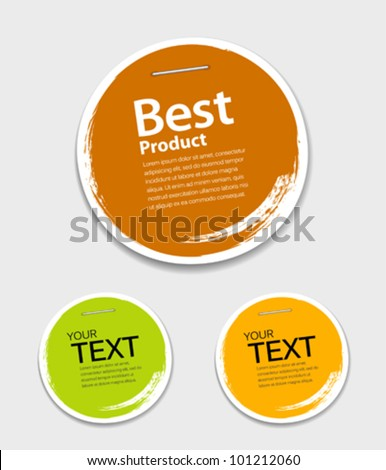 Colorful label paper circle brush stroke, vector illustration