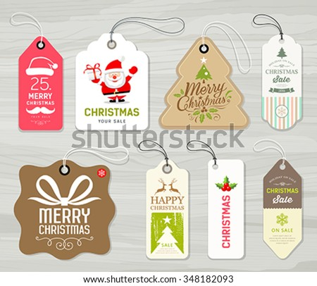 Colorful label paper merry christmas concept design on gray wood background vector illustration