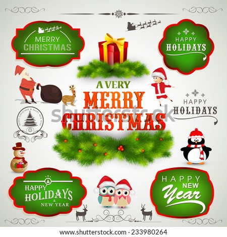 Colorful label, sticker, tag or beautiful typographic collection for Merry Christmas and Happy New Year celebration. - stock vector