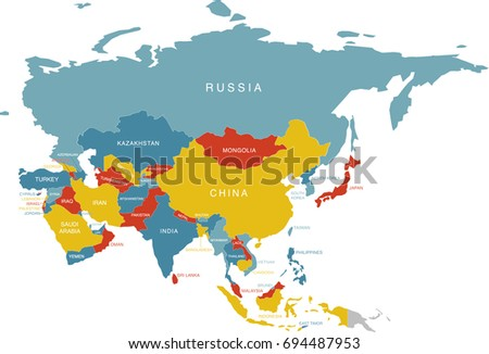 Colorful Labeled Map Of Asia With Russia (Labels In Separate Layer)