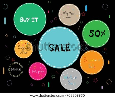Colorful labels greetings promotion illustration circle stock vector colorful labels for greetings and promotion illustration circle sale web banner m4hsunfo
