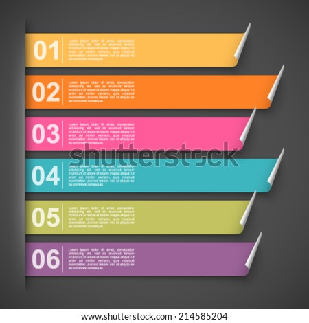 Colorful labels with options. - stock vector