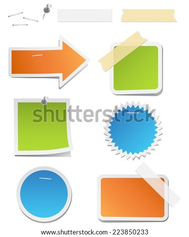 colorful labels staples tape vectors colors stock vector 223850233