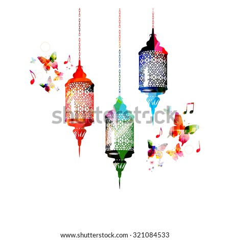 Colorful lamps for Ramadan with butterflies