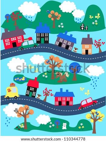 colorful landscape - stock vector