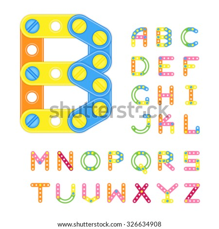 Colorful Latin Alphabet Made Of Plastic Elements Of Constructor. All The Letters Have The Same Height. Geometric Font. Uppercase Letters. Typeface. Vector. - stock vector