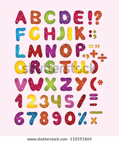 Colorful latin letters, numbers and punctuation marks. Vector illustration