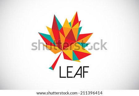 colorful leaf logo creative icon - stock vector