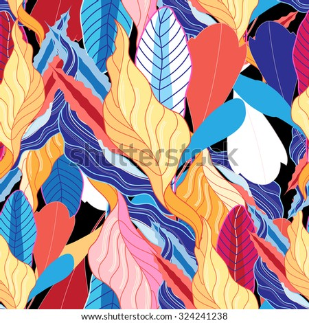 colorful leaves on a dark background autumn - stock vector