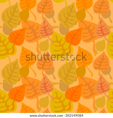 Colorful leaves. Seamless abstract background. Seamless vector pattern. Autumn textile retro collection. Orange. Backgrounds & textures shop. - stock vector