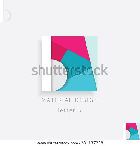colorful letter b logo element in material design style. White letter b isolated on colorful pink and blue patchwork background - stock vector