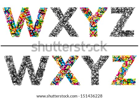 Colorful letters set for for font and type design. EPS 10 vector illustration. Jpeg version also available in gallery - stock vector