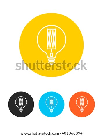 Colorful Light bulb sign icon.Idea symbol.Light bulb isolated,light bulb vector,light bulb icon.Round colourful buttons for design.Retro,Hipster,linear style.Vector illustration.Isolated on white  - stock vector