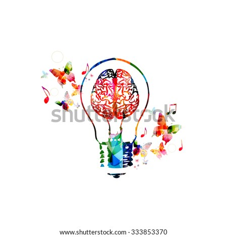 Colorful light bulb with brain symbol - stock vector