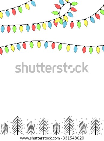 Colorful light bulbs and trees background