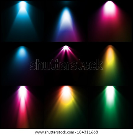 Colorful light sources. Vector set - stock vector