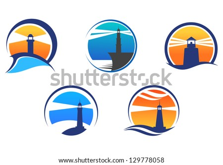 Colorful lighthouse symbols set isolated on white background for any navigation concept, also a logo idea. Jpeg version also available in gallery - stock vector