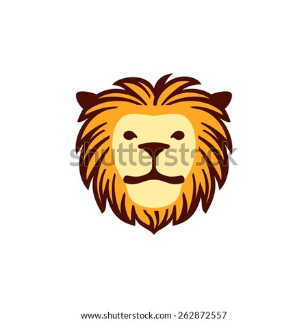 Colorful lion face. Vector icon.
