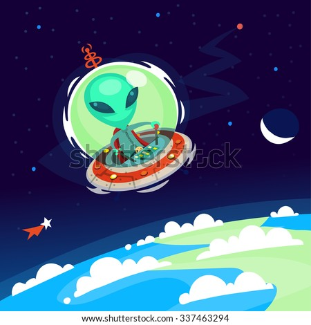 Colorful little green alien with big head flying his spaceship in Earth atmosphere. Vector cartoon alien on a space background. - stock vector