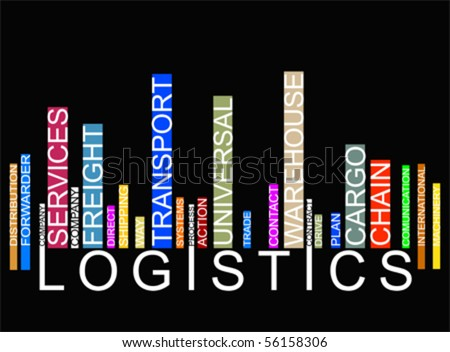 colorful  LOGISTICS text barcode, vector - stock vector