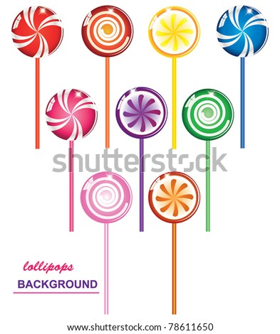 colorful lollipops - stock vector