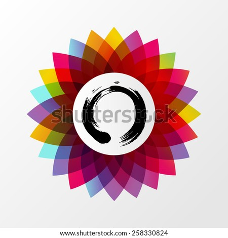 Colorful lotus flower and Enso zen circle concept illustration. EPS10 vector file organized in layers for easy editing. - stock vector