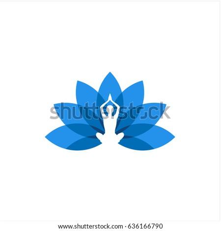Colorful lotus flower yoga pose icon stock vector 636166790 colorful lotus flower with yoga pose icon mightylinksfo