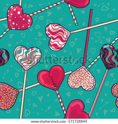 Colorful Love / Heart shaped Lollipop Candy Seamless Pattern for Valentine's Day