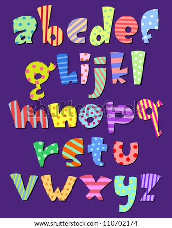 Colorful lower case pattern alphabet - stock vector