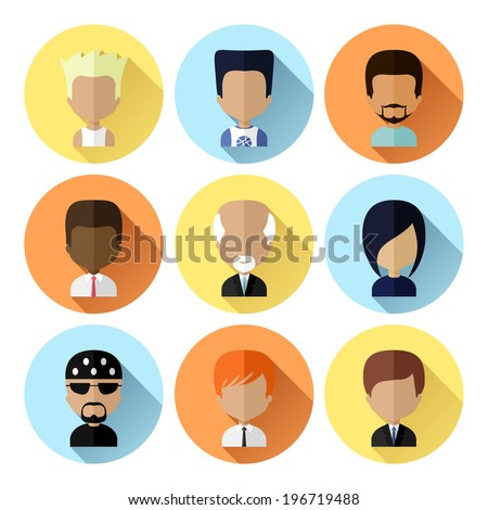 Colorful Male Avatars Circle Icons Set in Flat Style with Long Shadow - stock vector