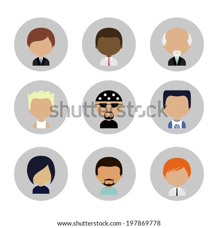 Colorful Male Avatars Circle Icons Set in Flat Style with Long Shadow