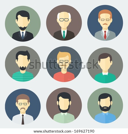 Colorful Male Faces Circle Icons Set in Trendy Flat Style - stock vector