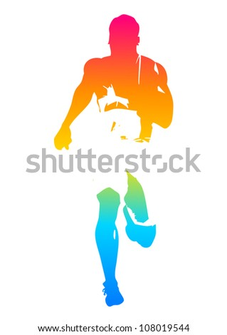 Colorful man figure of a sprinter - stock vector