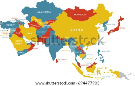 colorful map of asia labeled labels in separate layer