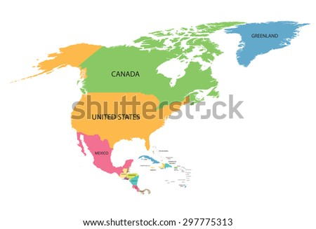 colorful map of North America with names of all countries