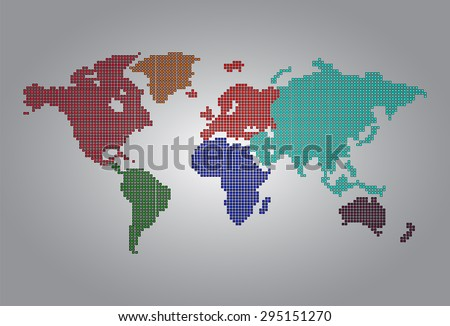 colorful map of the world pixel background. vector illustration. dot. table. square. Mosaic. ingographics. background for computer graphic website internet and technology. - stock vector