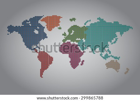 colorful map of the world pixel background. vector illustration. dot. table. square. Mosaic. ingographics. background for computer graphic website internet and technology. dark gray background. - stock vector