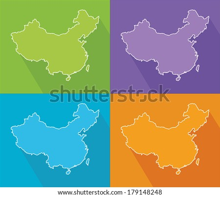 Colorful map silhouette with shadow - China - stock vector