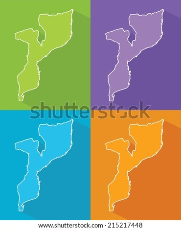 Colorful map silhouette with shadow - Mozambique