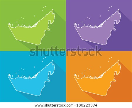 Colorful map silhouette with shadow - United Arab Emirates - stock vector