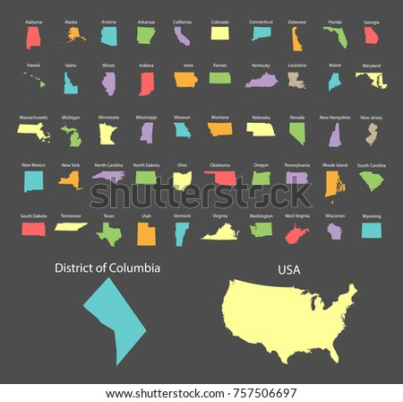 Colorful Maps of the states of America. Vector illustration.
