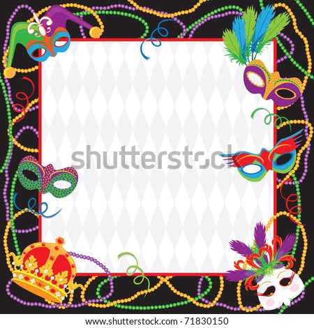 Colorful Mardi gras party invitation with copy space