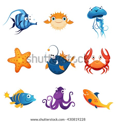 Colorful Marine Animals Set Of Cute Bright Color Childish Design Vector Illustrations Isolated On White Background - stock vector