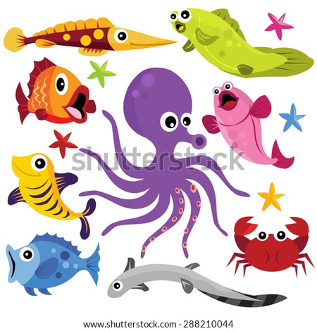 Colorful marine life cartoon vector illustration.